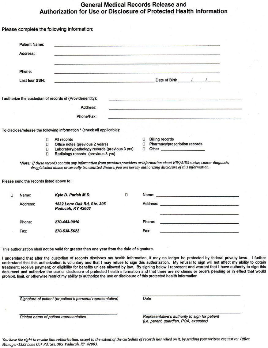 medical records release - Medical Records Release Form